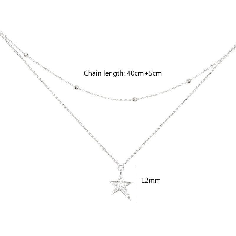Sterling Silver Micro Zirconia Star Necklace