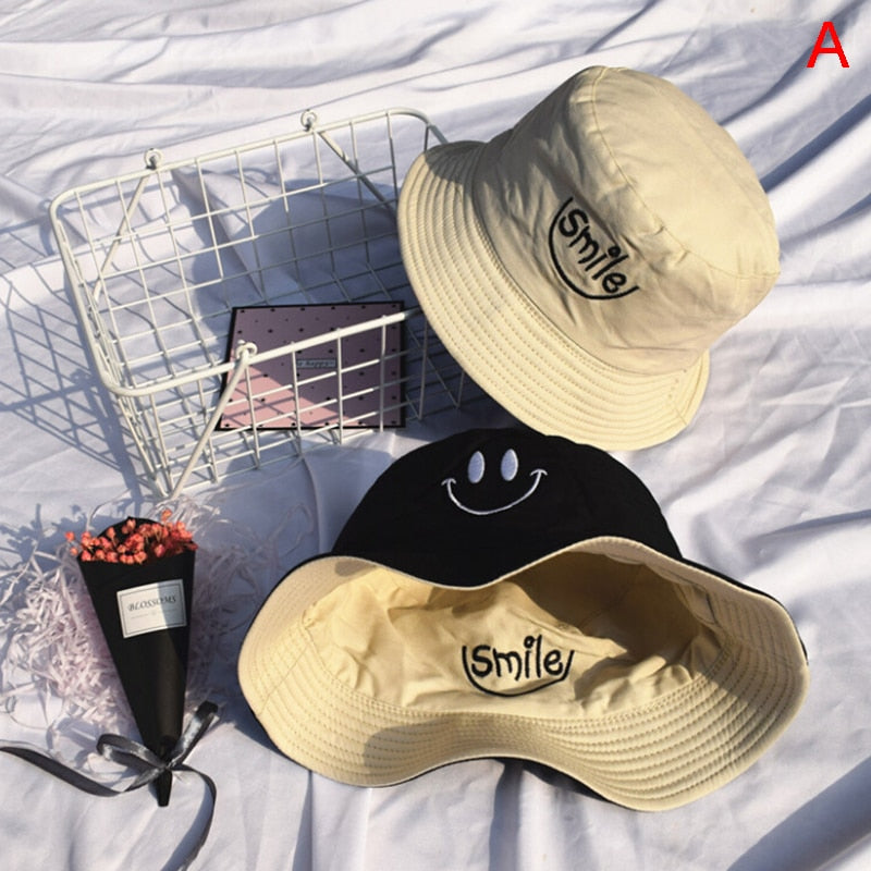 Smile Embroidery Panama Bucket Hat