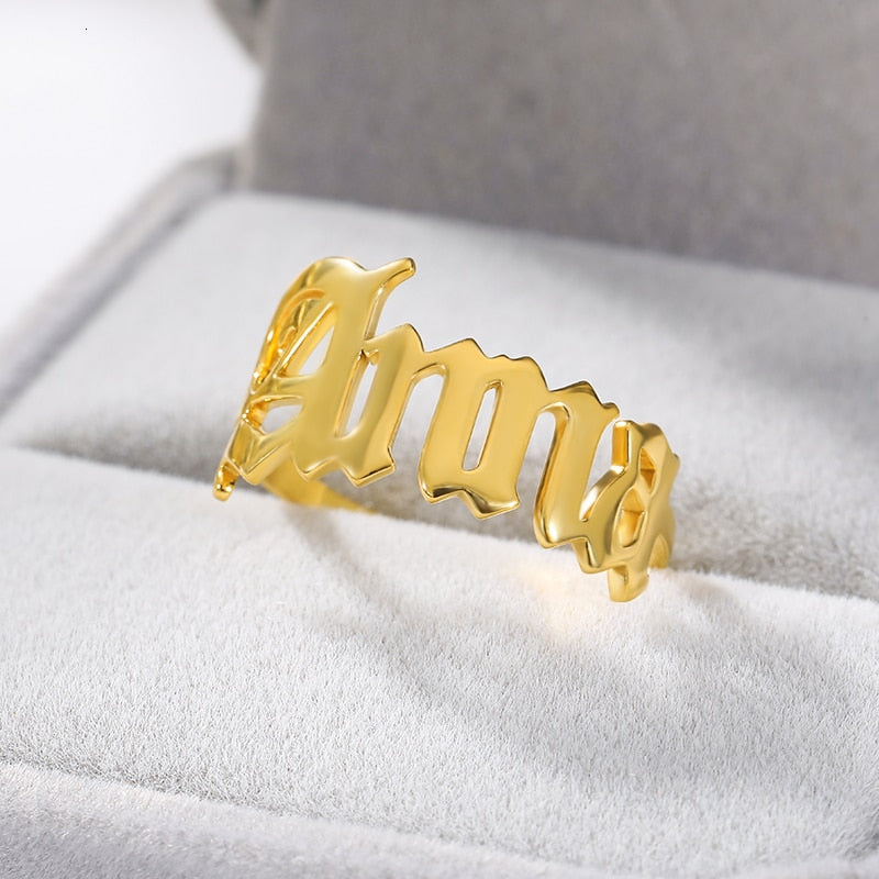 Personalized Old English Name Ring