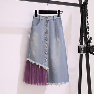 Sophie Fall Set Top With Denim Skirt