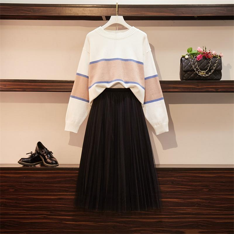 Catalina Striped Sweater+ Pleated Skirt