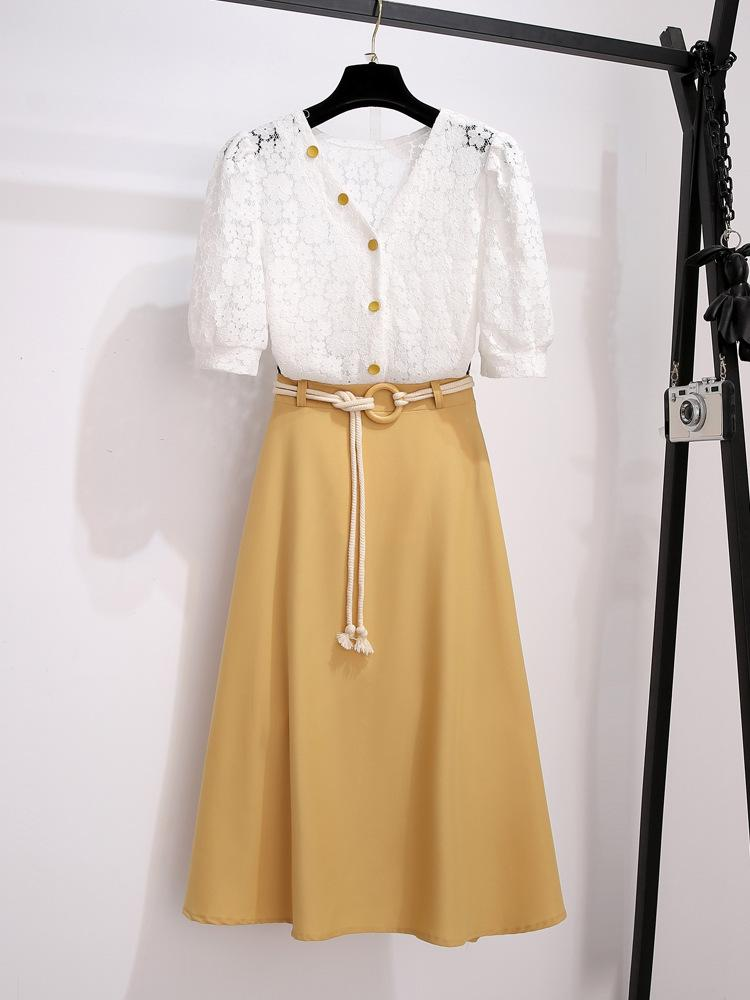 Marley Office Lace Blouse + Long Skirt