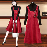 Amira Korean Style Red Casual Dress