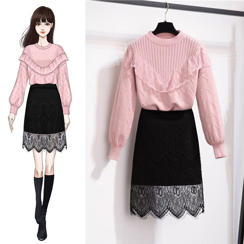 Camryn Sweater + Lace Edge Skirt