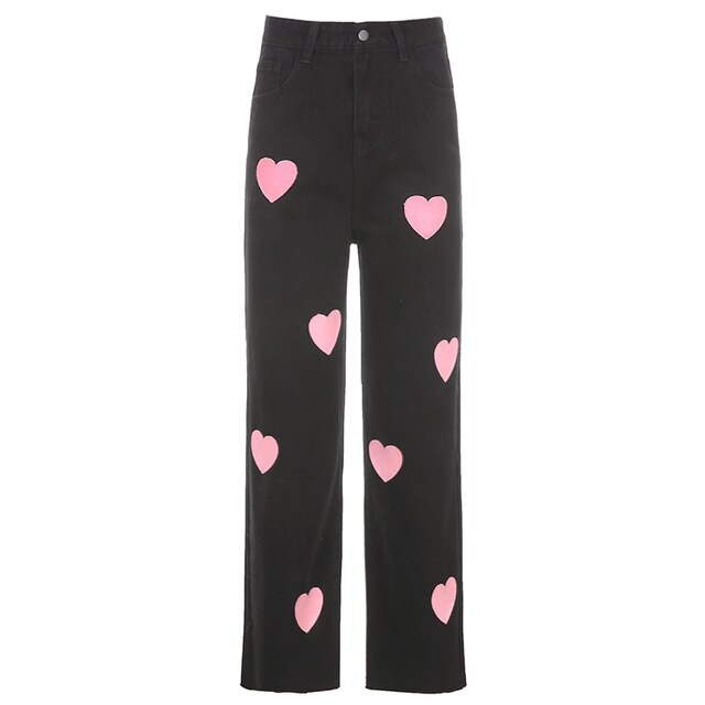 Pink Heart Printed Straight Jeans