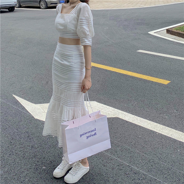Lisa Bow-Knot Fishtail Skirt + Square Neck Blouse