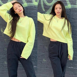 Jennie Crop Sweatshirt And Loose Pants