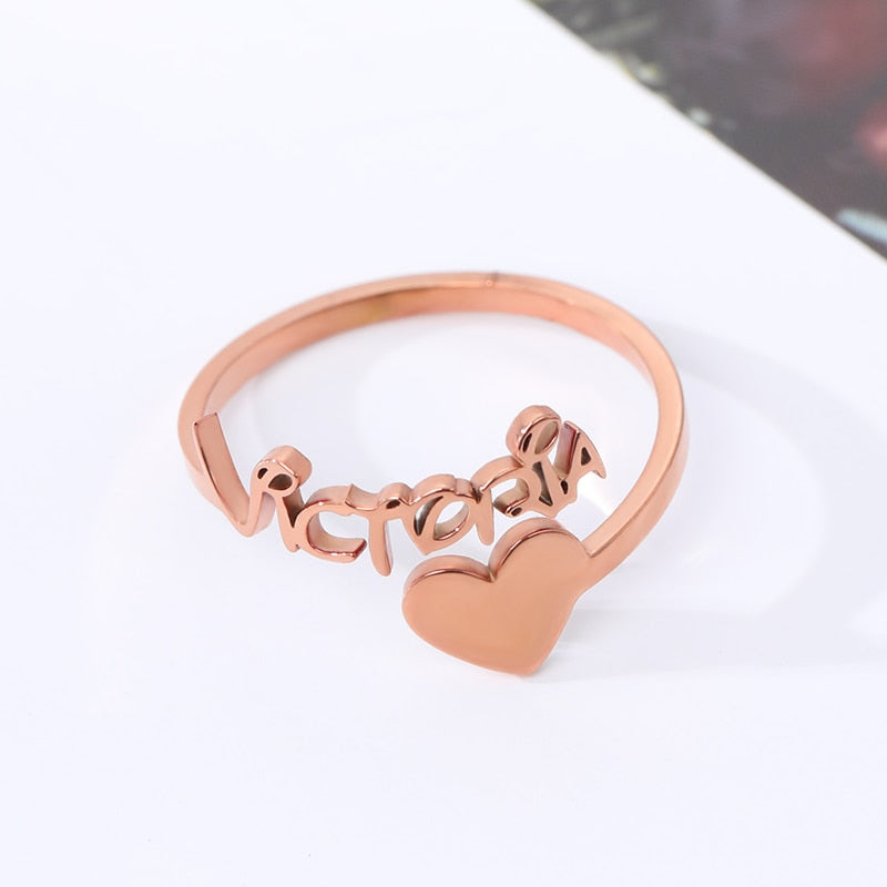 Personalized  Custom Heart Name Ring