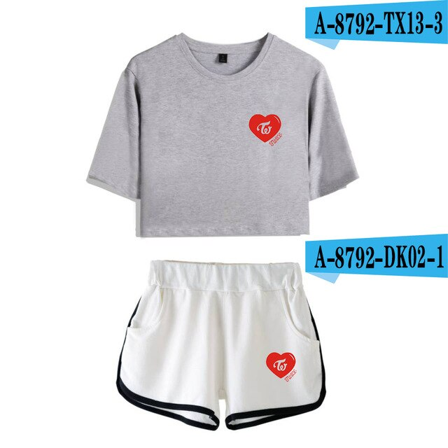 TWICE Heart Print Crop Top Shorts Set 2