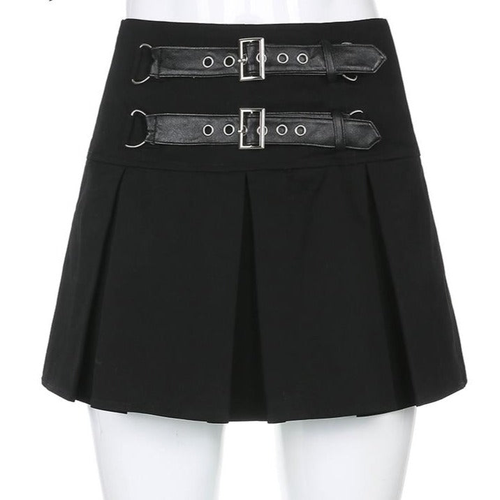 Pleated High Waist With Rivet Gothic Skirt