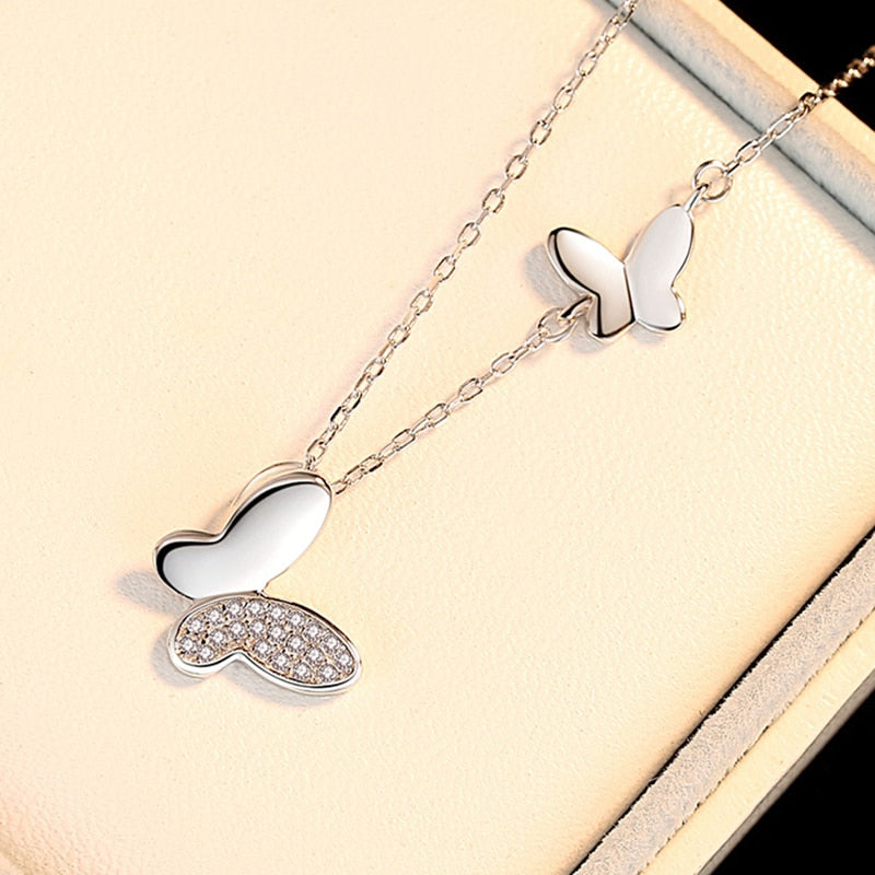 Two Butterfly Silver Necklace