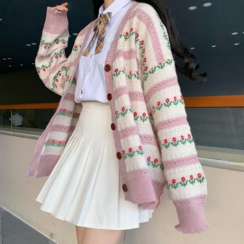 Kawaii Girly Knittes Flower Cardigan