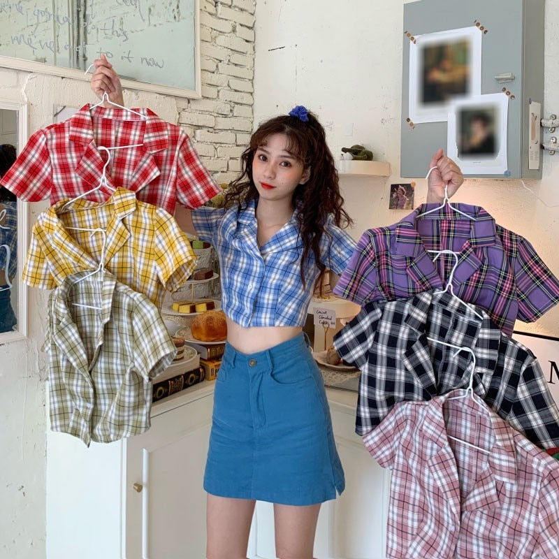 Korean Style Plaid Crop Top