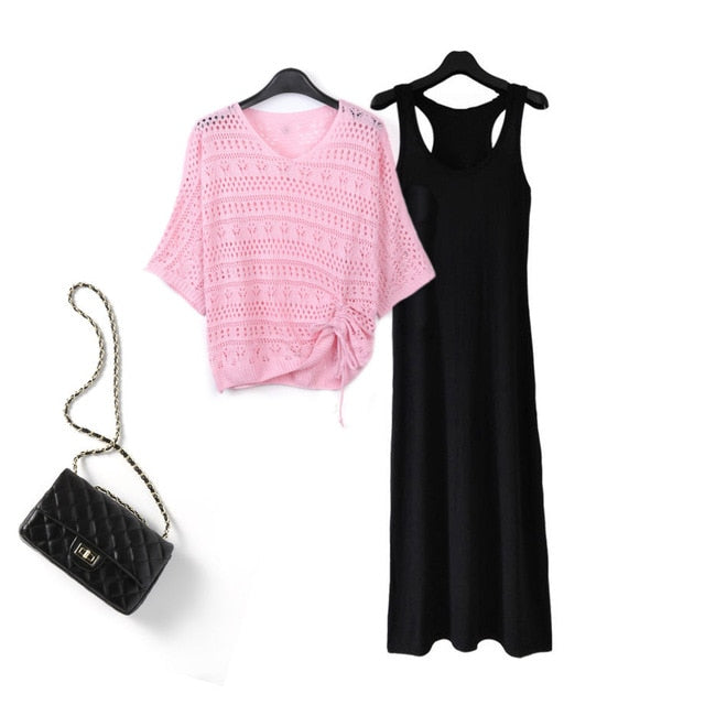 Summer Hollow Out V-neck Top + Sleeveless Strap Dress