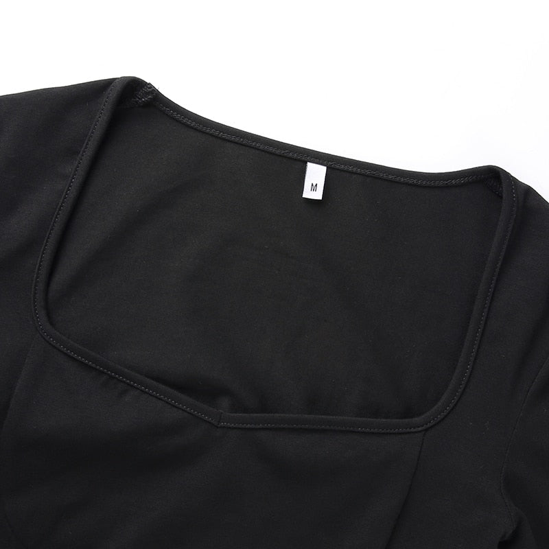 Black Square Collar Crop Top