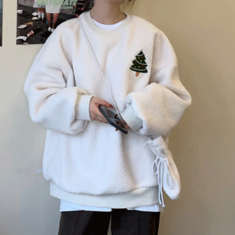 Christmas Tree Snowman Oversized Fluffy Hoodie