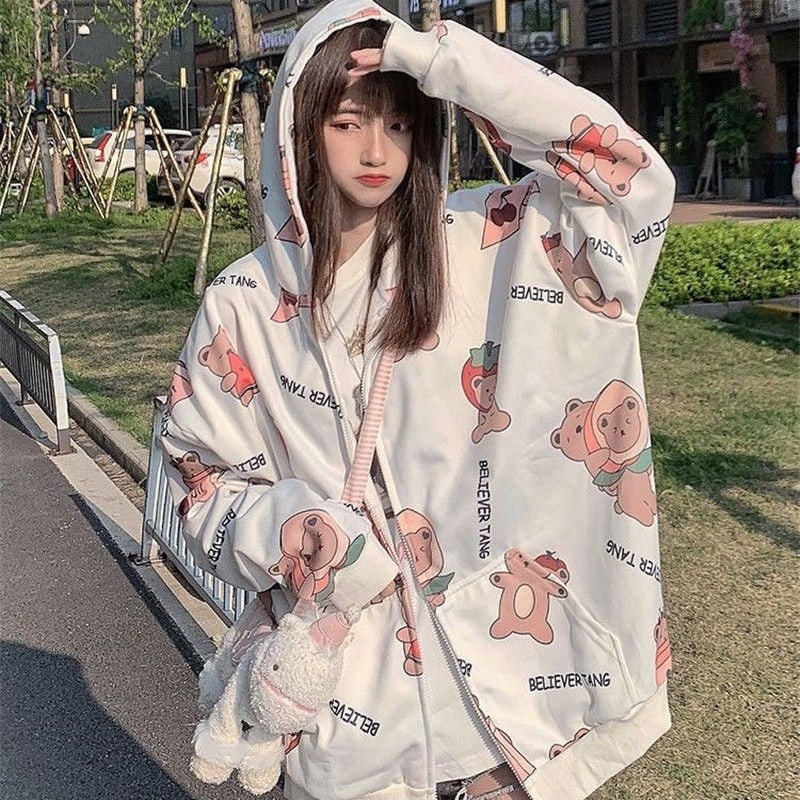 Cute Bear Print Hoodies