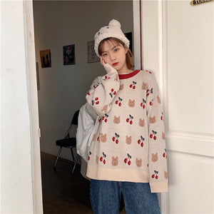Vintage Bear And Cherry Loose Sweater