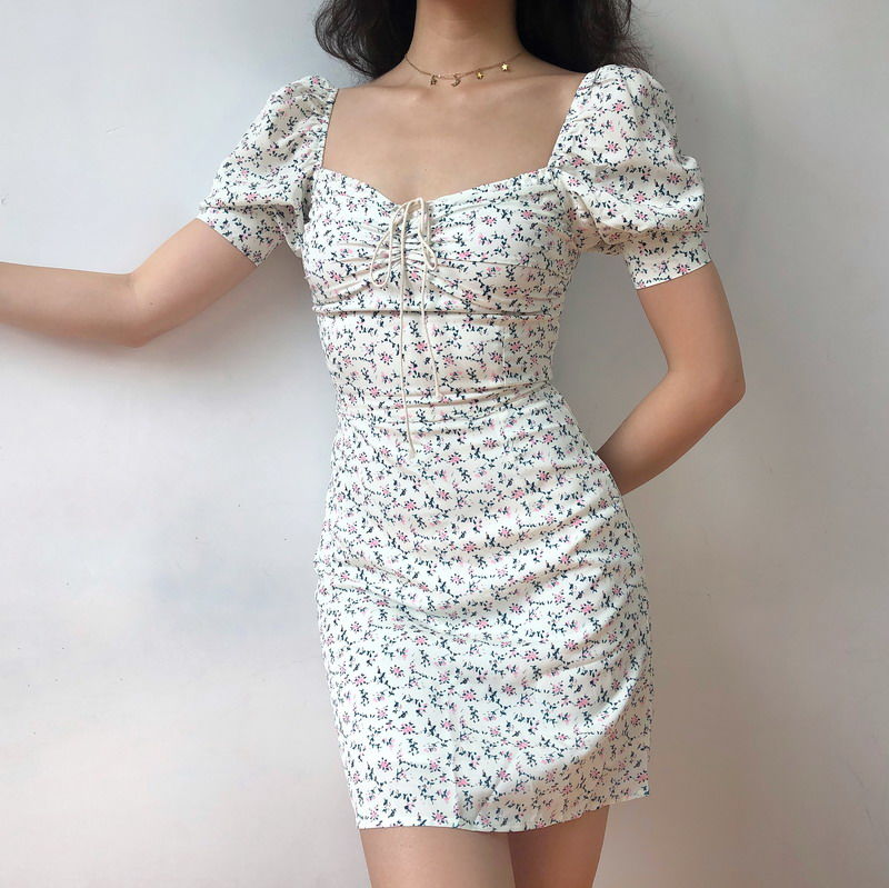Chiffon Bodycon Lovely Puff Sleeve Dress