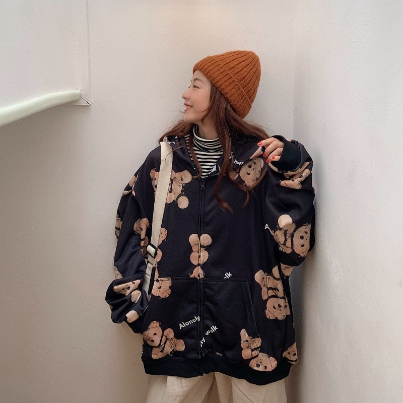 Bears Oversized Zip Up Sweater