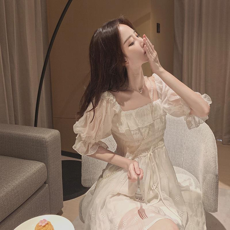 White Puff Sleeve Korean Style Fairy Dress