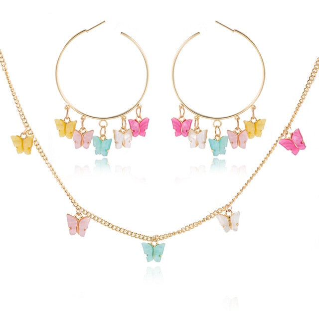 Butterfly Necklace And Earing Set