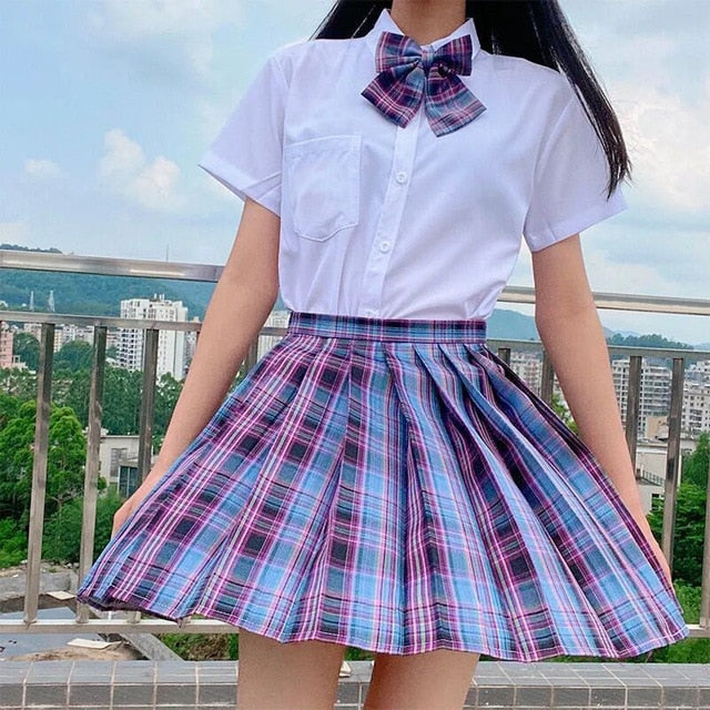 High Waist Pleated A-Line Skirt