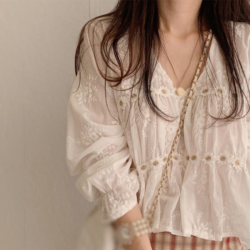 Chic Hollow V-neck Korean  Style Blouse