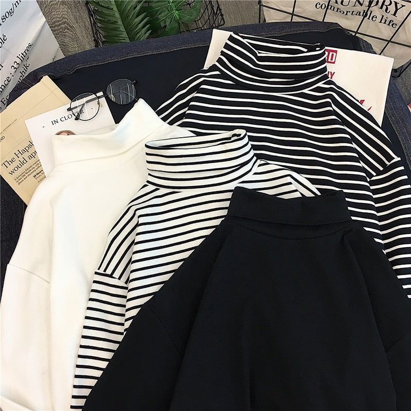 Basic Long Sleeve Striped Turtleneck