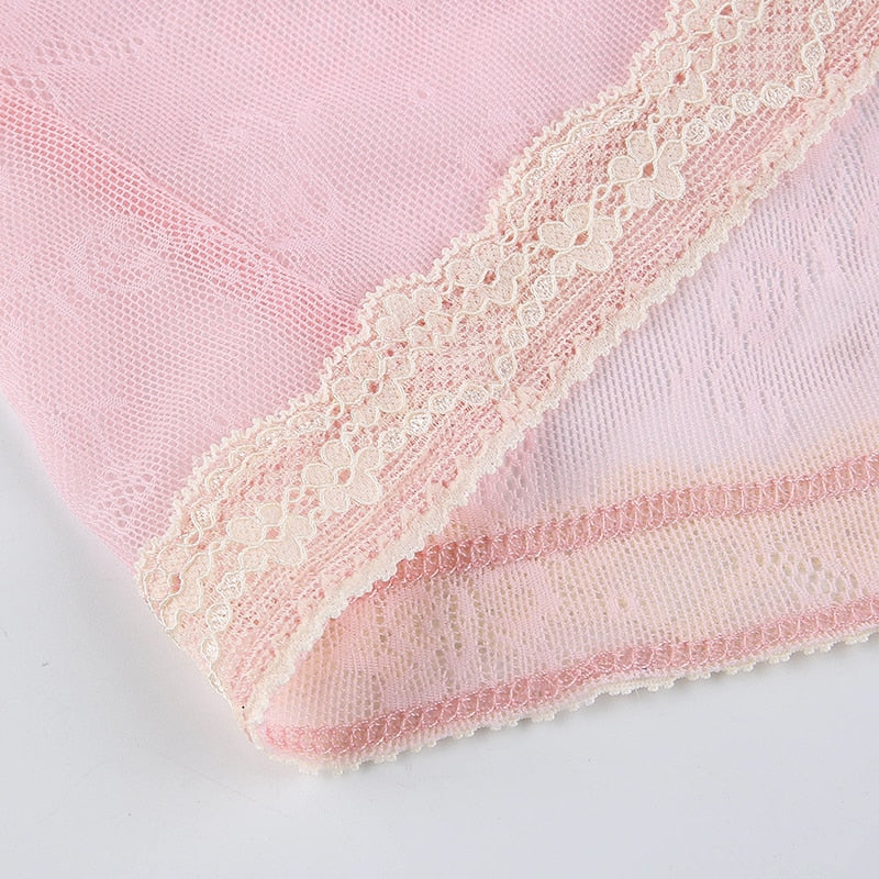 Pink Sweety Lace Trim Top