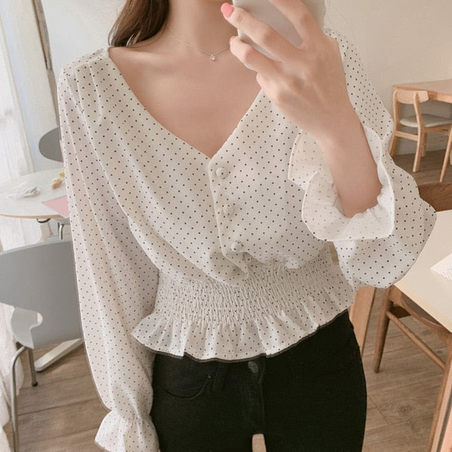 Vintage V-neck Flare Sleeve Polka Dot Blouse