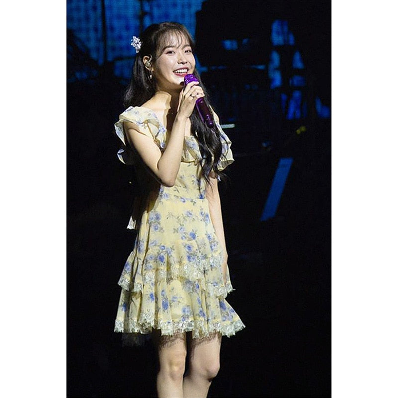 IU Lee Ji Eun Chiffon Lace Dress