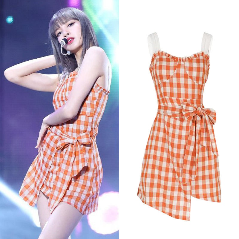 Lisa Orange Plaid Mini Dress