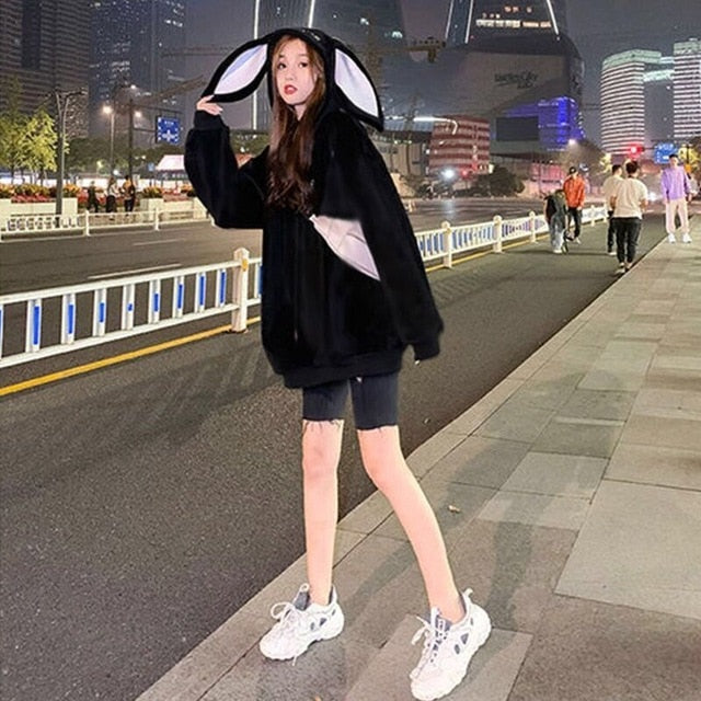 Korean Style Loose Lazy Bunny Ears Hoodie With Velvet