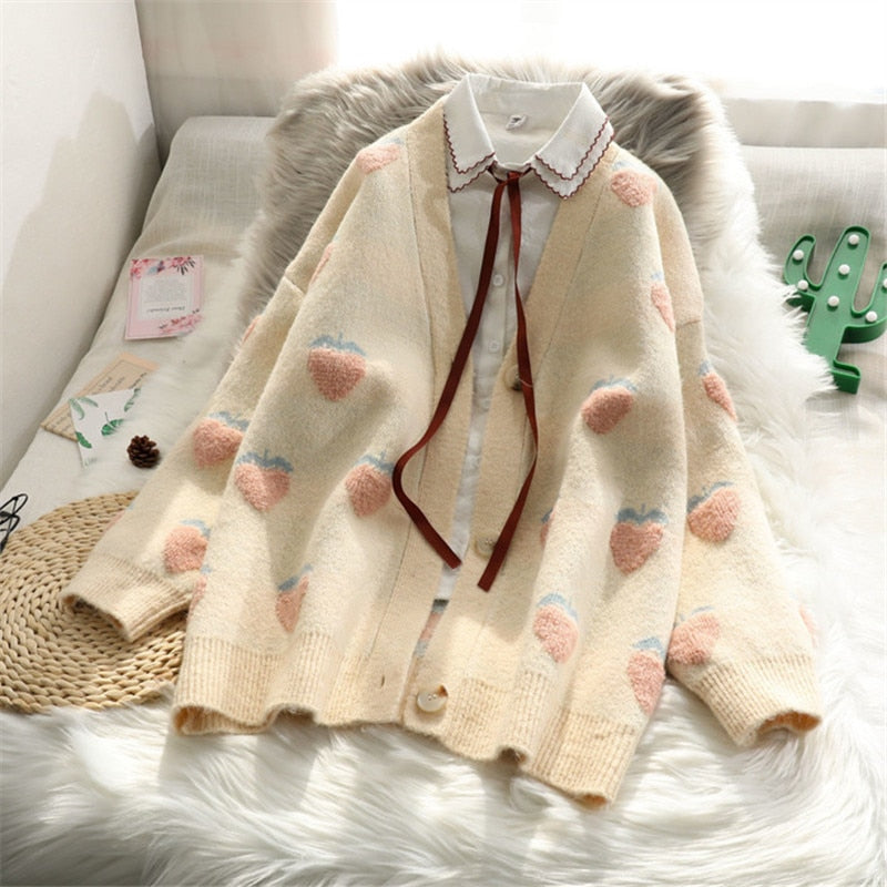 Cute Strawberry Pattern V Neck Cardigan