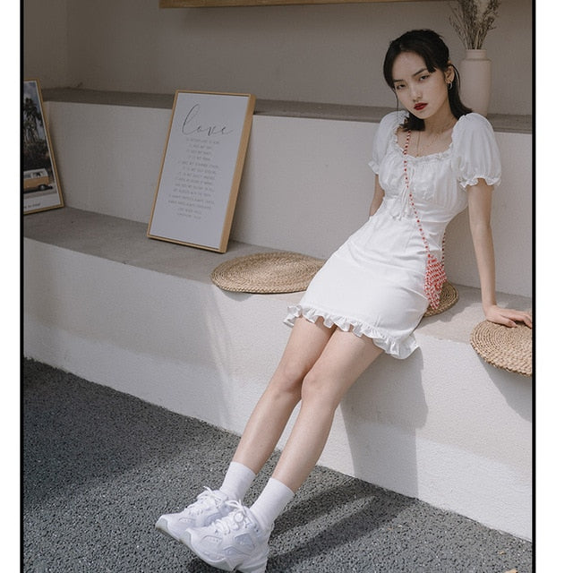Elegant Square Collar Vintage Dress
