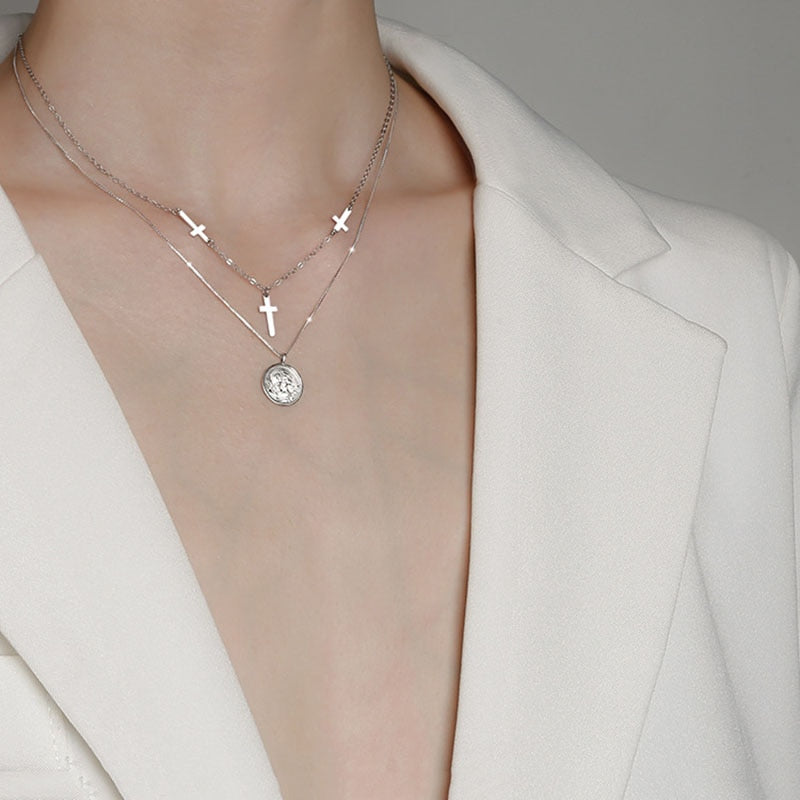 Cross Clavicle Chain Necklace - Sterling Silver
