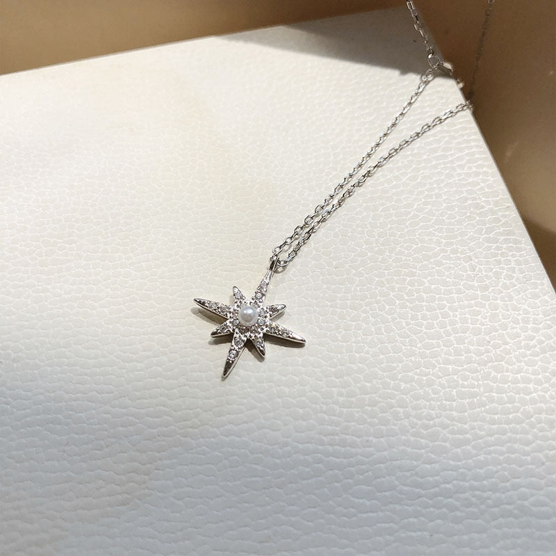 Sterling Silver Moon Star Necklace