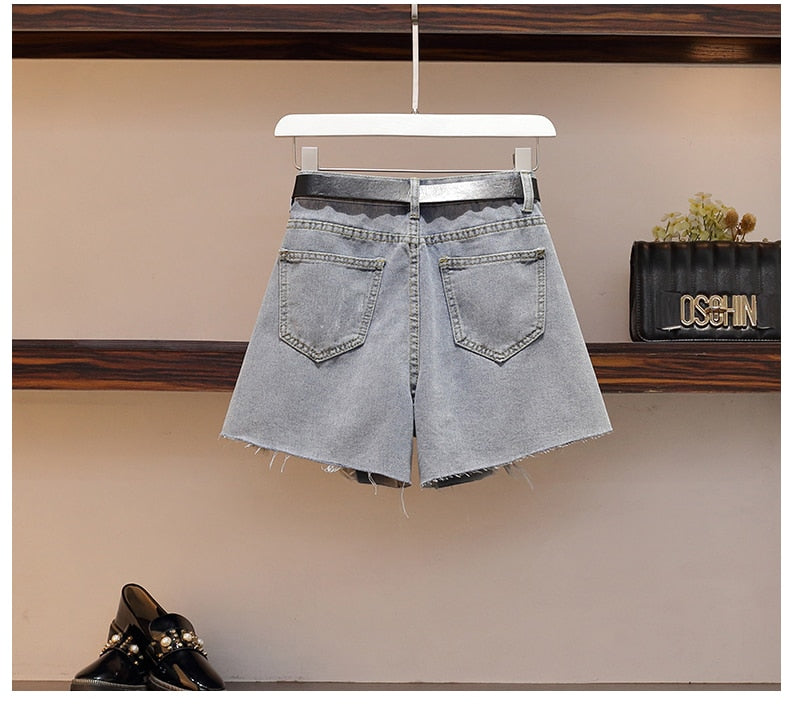 Korean Chiffon Top + Denim shorts  3 Piece Set