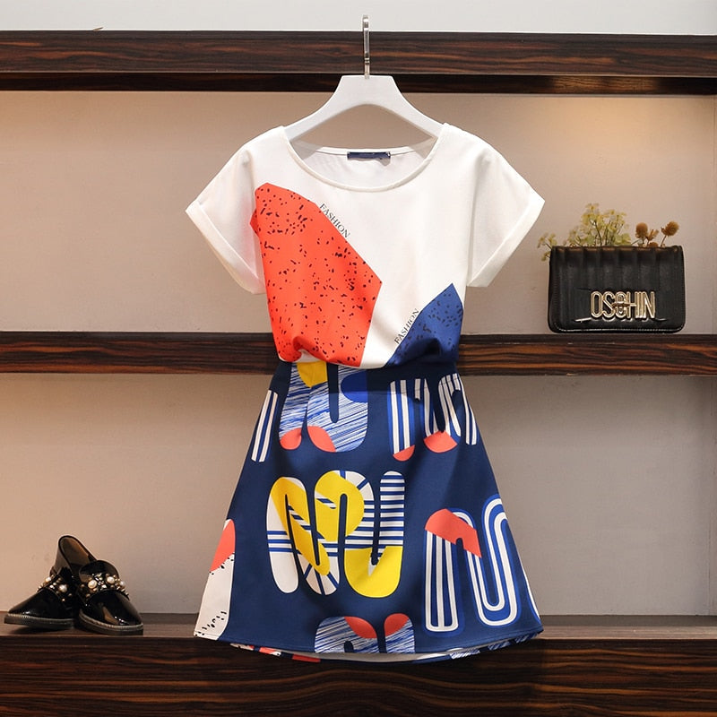 O-neck Loose Top + Elegant Mini Skirt