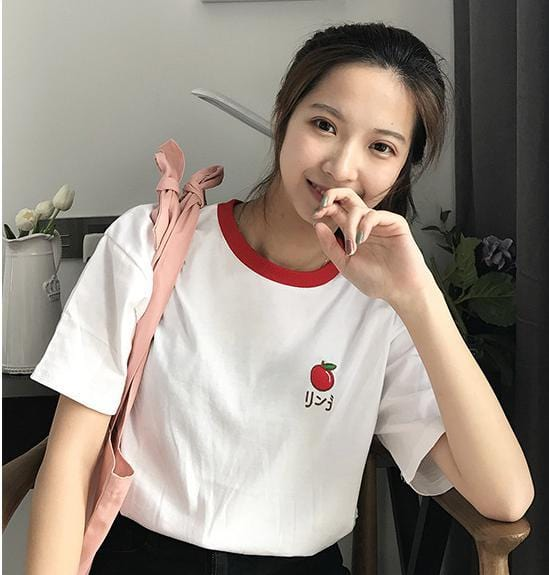 Fruit Embroidered T-shirt