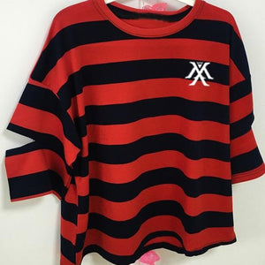 Monsta X Logo Printed Stripe T-shirt