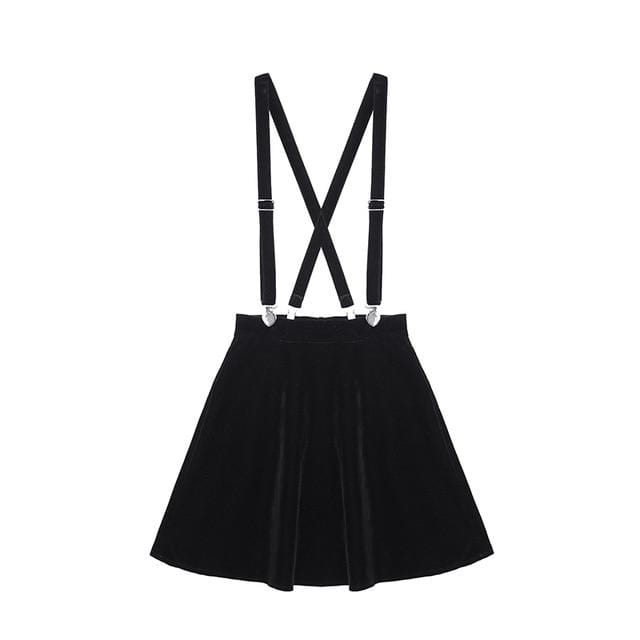 Velvet Punk Suspender Skirt