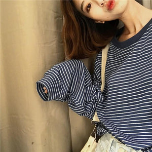 Korean Style Retro Long Sleeve O-neck Striped T-shirt