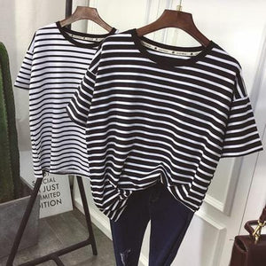 Striped Short Sleeve Basic Shirt