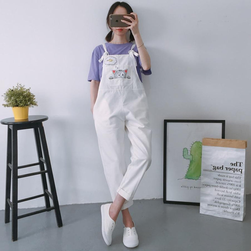 Printed Cat Pocket High Waist Overalls