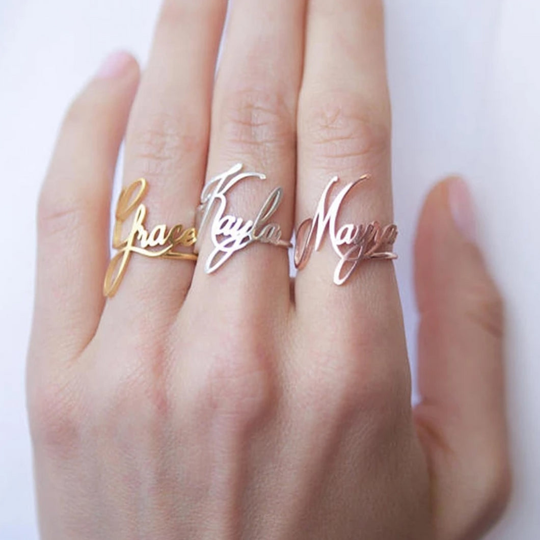 Stacking Custom Name Ring - Stainless Steel