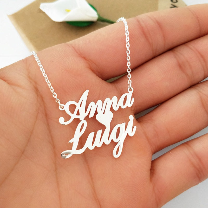 Personalized Two Names With Heart Necklace