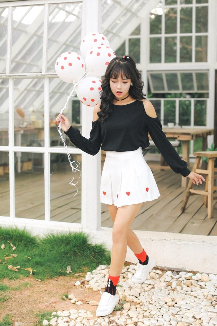 Lolita Harajuku Pleated Skirt with Hearts