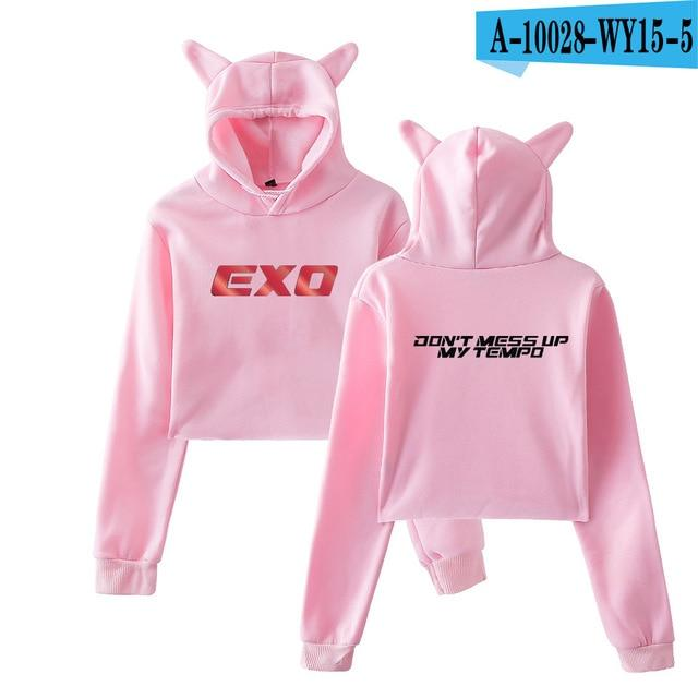 EXO Cat Ear Cropped Hoodie for Women